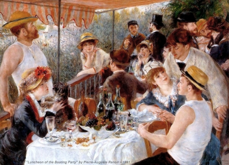 Luncheon-of-the-Boating-Party-1881-oil-painting-Pierre-Auguste-Renoir-French-impressionism-people-picnic-hats-wine-grapes