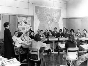 students-desks-in-circle-circa-1960-black-white-mark-goebel